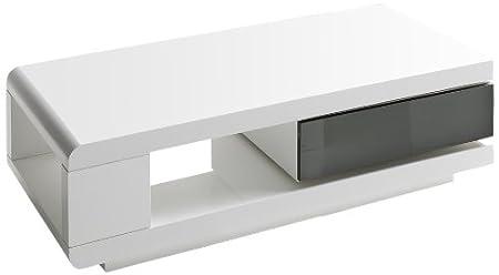 Robas Lund 59031WG4 IDA Table basse MDF laqué brillant Blanc 60 x 120 x 36 cm