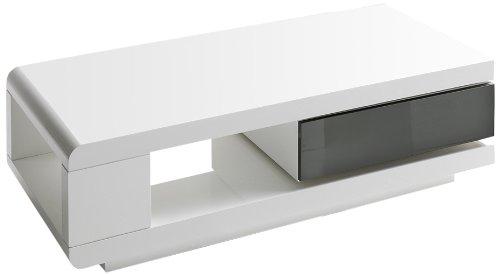59031WG4 Couchtisch Ida, 1 Schubkasten grau, 360 Grad drehbar, 120 x 60 x 36 cm, MDF Hochglanz weiß