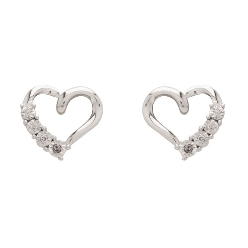 DiAura Sterling Silver Diamond-Accent Open Heart Post Earrings