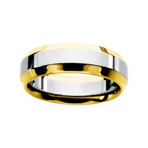 14k Two-Tone Comfort Fit Band Ring - Size 12 - JewelryWeb