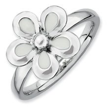 Lovely Silver Stackable White Enameled Flower Ring. Sizes 5-10 Available