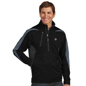 New Orleans Saints Mens Discover 1/4 Zip Pullover (Team Color: Black) - Small