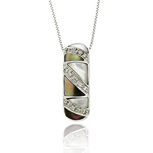 Art Deco Sterling Silver .925 Genuine White, and Gray Mother of Pearl Mop Mosaic Simulated CZ Slide/Pendant