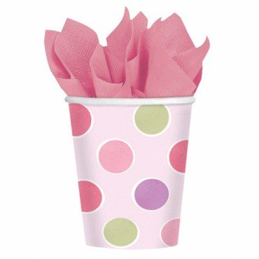 Amscan Pretty Little Princess Baby Shower Party Supply Paper Cups, 9 oz, Pink/Green/Purple