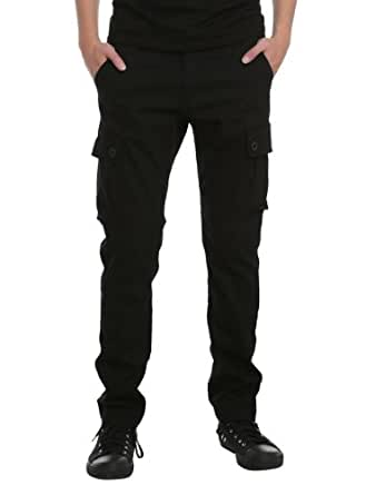 RUDE Black Slim Fit Cargo Pants Size : 26