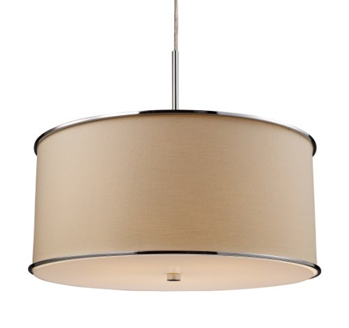 Elk 20057/5 Fabrique 5-Light Drum Pendant In Polished Chrome and Textured Beige Shade Elk B004HX11GS