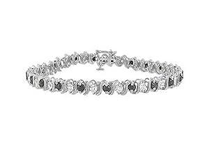 Blue Sapphire and Diamond Bracelet : 14K White Gold - 3.00 CT TGW
