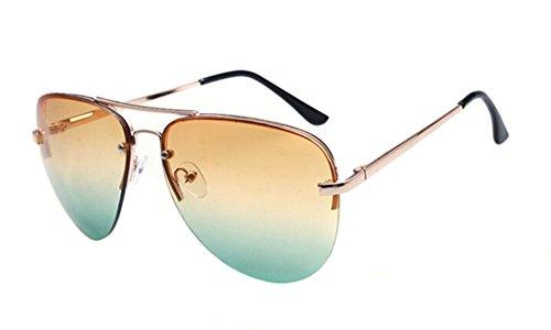 GAMT Summer Beach Gold Frame Aviator Sunglasses Yellow-green
