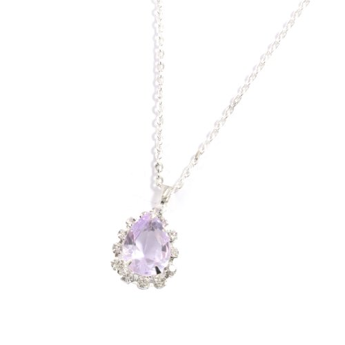 Rosallini Woman Light Purple Faux Crystal Pendant Silver Tone Party Necklace