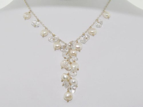 White Baroque Freshwater Pearl and Crystal Chips