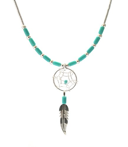 Dream Catcher Turquoise Sky Blue Small Cute Necklace Set White 925 Sterling Silver, 18