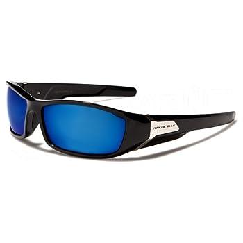ArcticBlue Lunettes de Soleil - Sport - Cyclisme - Ski - Conduite - Motard - Plage / Mod. Kite Noir Bleu Miroir / Taille Unique Adulte / Protection 100% UV400