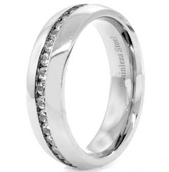 8MM High Polished Stainless Steel Eternity Wedding Band With 32 CZs