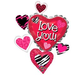 "Love You Animal Print Heart Cluster 34"" Valentine's Day Mylar Foil Balloon"