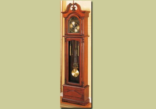 Light Cherry Finish Grandfather Clock Wood Curio Chime