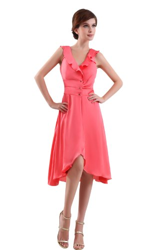Heyivogue A Line Sleevesles V Neck Tea Length For Ladies Bridesmaid Dresses 3287 10 Pink