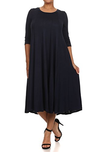 Pastel by Vivienne Women's A-Line Trapeze Midi Dress Plus Size XXX-Large Navy
