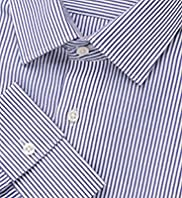 "2"" Longer Autograph Luxury Pure Cotton Striped Shirt"