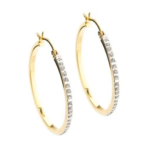 Diamond Mystique ® 18k Yellow Gold Over Sterling Silver Diamond Accent Round Hoop Earrings