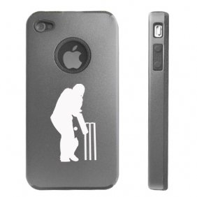 Apple iPhone 4 4S 4G Silver D2131 Aluminum & Silicone Case Cover Cricket Sport