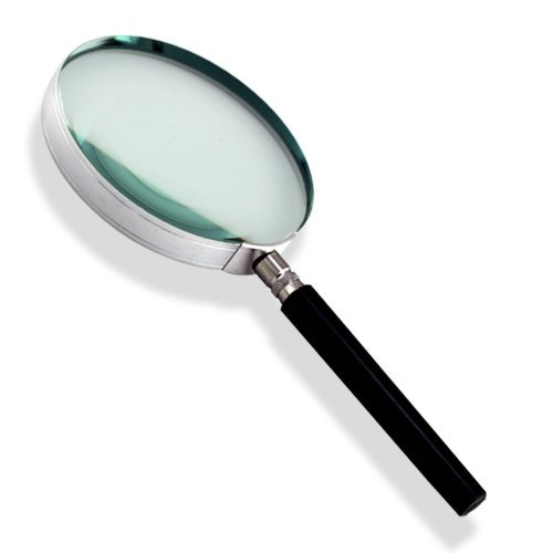 "Powerful 2X Magnifier Glass - Large 4"" Lens - Chrome with Bakelite Handle"