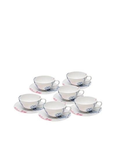 Elinno Lotus Lullaby Set of 6 Teacups & Saucers, Multi
