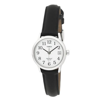 Timex Women's Analog Silver-Tone Case Black Leather Strap Dress Watch - T2H331