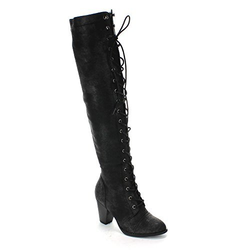 Image of Forever Camila-48 Womens Chunky Heel Lace Up Over The Knee High Riding Boots,Black,9