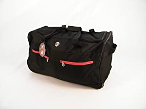 Wheeled Floral Medium Holdall Trolley Bag In Blackred With Locking Telescopic Trolley Handle Side Top Carry Handles