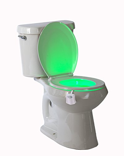 Magic Toilet Night Light - Motion Sensor Activated Toilet Bowl Bathroom Night Light - Battery Operated LED Lamp - 8 Changing Colors - Energy-Efficient Toilet Safety Light - Ideal For Potty Training