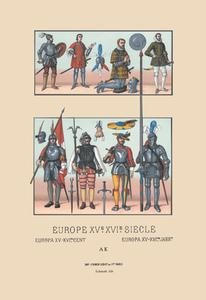 "Paper poster printed on 12"" x 18"" stock. Assortment of Military Costumes of the Renaissance"