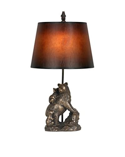 Bristol Park Lighting Bear Table Lamp With Shade, Antique Bronze