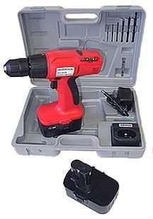 """17 Pcs 3/8"""" 18 Vlt Cordless Drill Kit / 2 Batteries"""