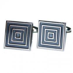 Wow Cufflinks Black & Silver Square Cufflinks for Men