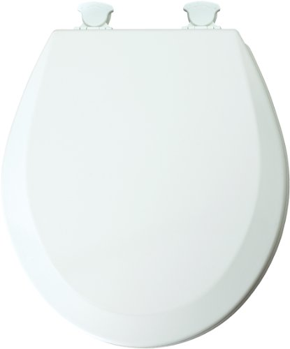 Mayfair 46ECDG Premium Round Molded Wood Toilet Seat with Easy Clean Hinges and DuraGuard Antimicrobial, White