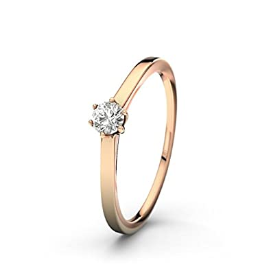 21DIAMONDS Women's Ring Long Beach SI2 0.15 CT Brilliant Cut Diamond Engagement Ring 14ct Rose Gold Engagement Ring