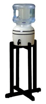 Porcelain Water Dispenser with Black Stripes and Black Wood Floor Stand