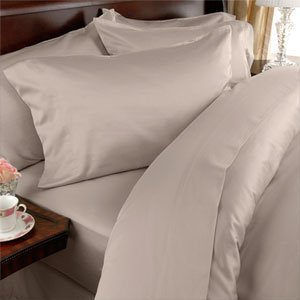 Egyptian Linens 1200-Thread-Count Egyptian Cotton 4pc 1200TC Bed Sheet Set, California King, Ivory Damask Stripe 1200 TC