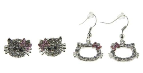 Open Face Stud Dangle Pink Bow Crystal Hello Kitty Earring Set for Little Girl Teen Women