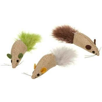 PETCO Burlap Mice with Feathers Catnip Cat Toys