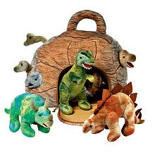 FAO Schwarz Dinosaurs in a Rock House Plush W/ House + 7 Plush Dinosaurs