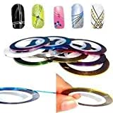 10 Couleurs Différentes Striping Tape Fil Bande Autocollant Sticker Nail Art Ongles de Autek's Nail Art