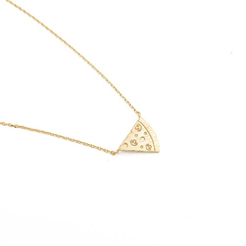 Pizza Lovers Gift | Gold Pizza Slice Pendant Necklace