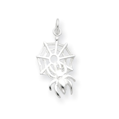 Sterling Silver Spider on Web Charm