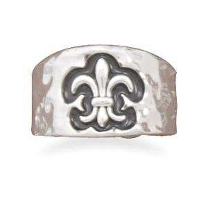 Hammered Fleur-De-Lis Ring - Silver Plate, 7