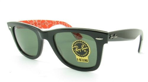 Ray-Ban RB2140 Original Wayfarer Sunglasses 50 mm, Non-Polarized, Black and Red Mania/G-15XLT