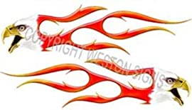 Digitally Airbrushed Eagle Head Flame Decal - 4