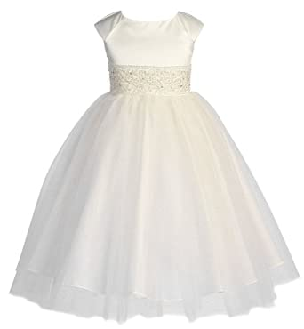 KID Collection Girls Angelic Tulle Dress 2 Ivory (Kid 1184)