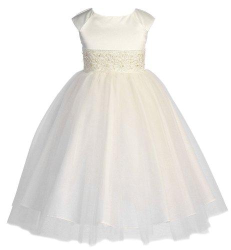 Малыш коллекция девушек ангельский тюль платье 2 слоновой кости (Kid 1184)
