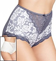 2 Pack Per Una Cotton Rich Ornate Lace Full Briefs